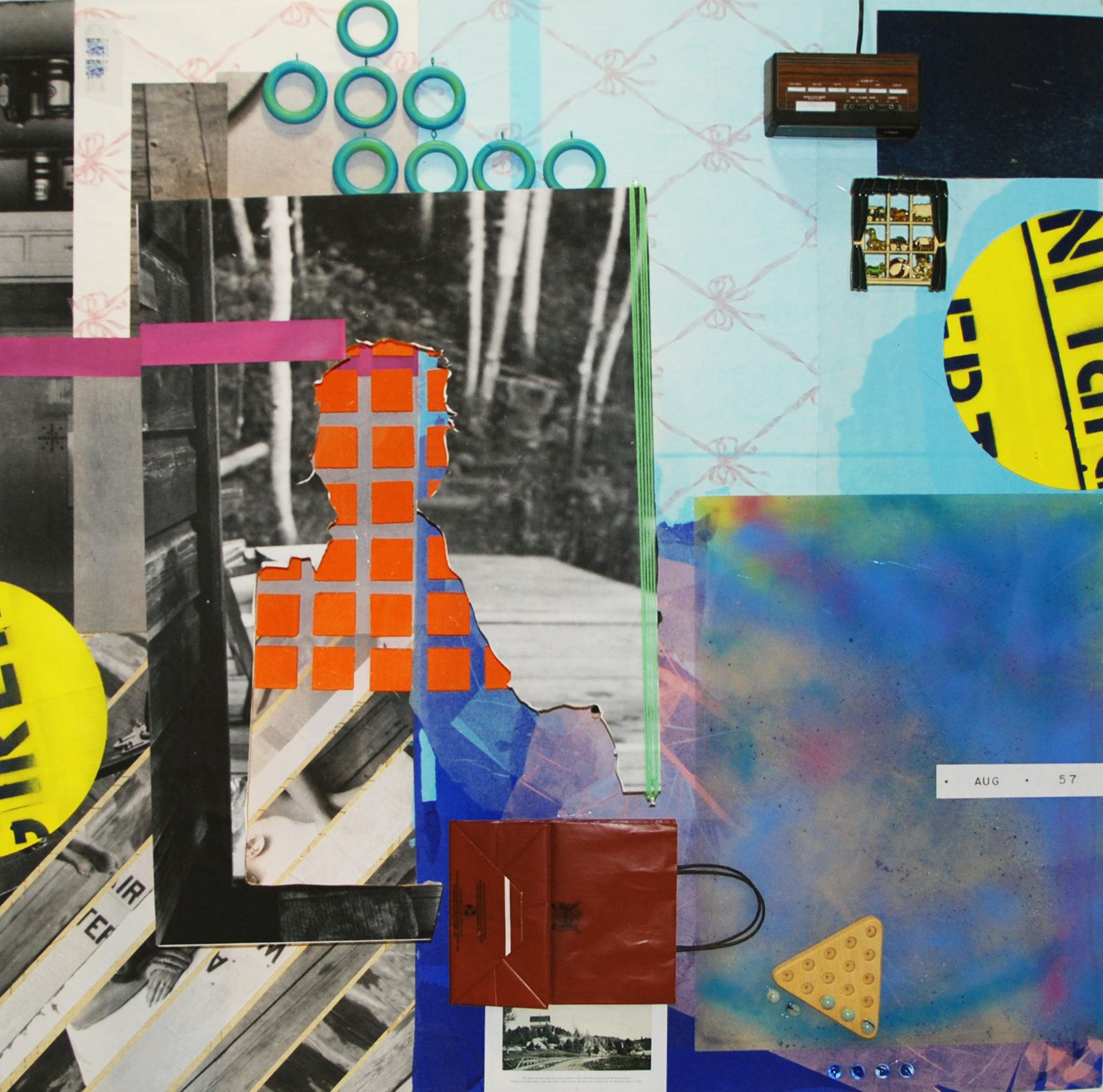 """August 1957  mixed media 4' x 4' x 5"""" 2015 based on  Eight  (from   Postcards  )"""