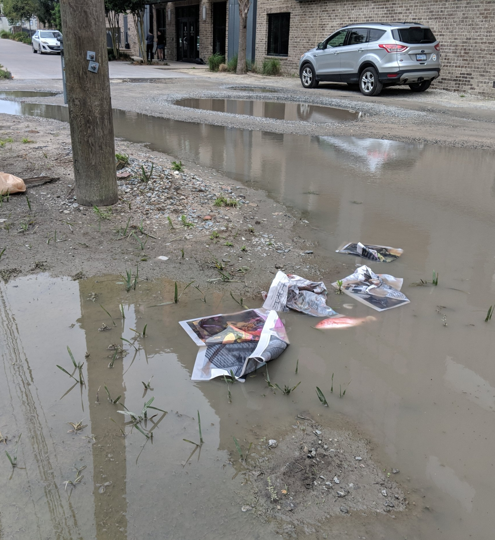 Destroyed newspaper in groundwater