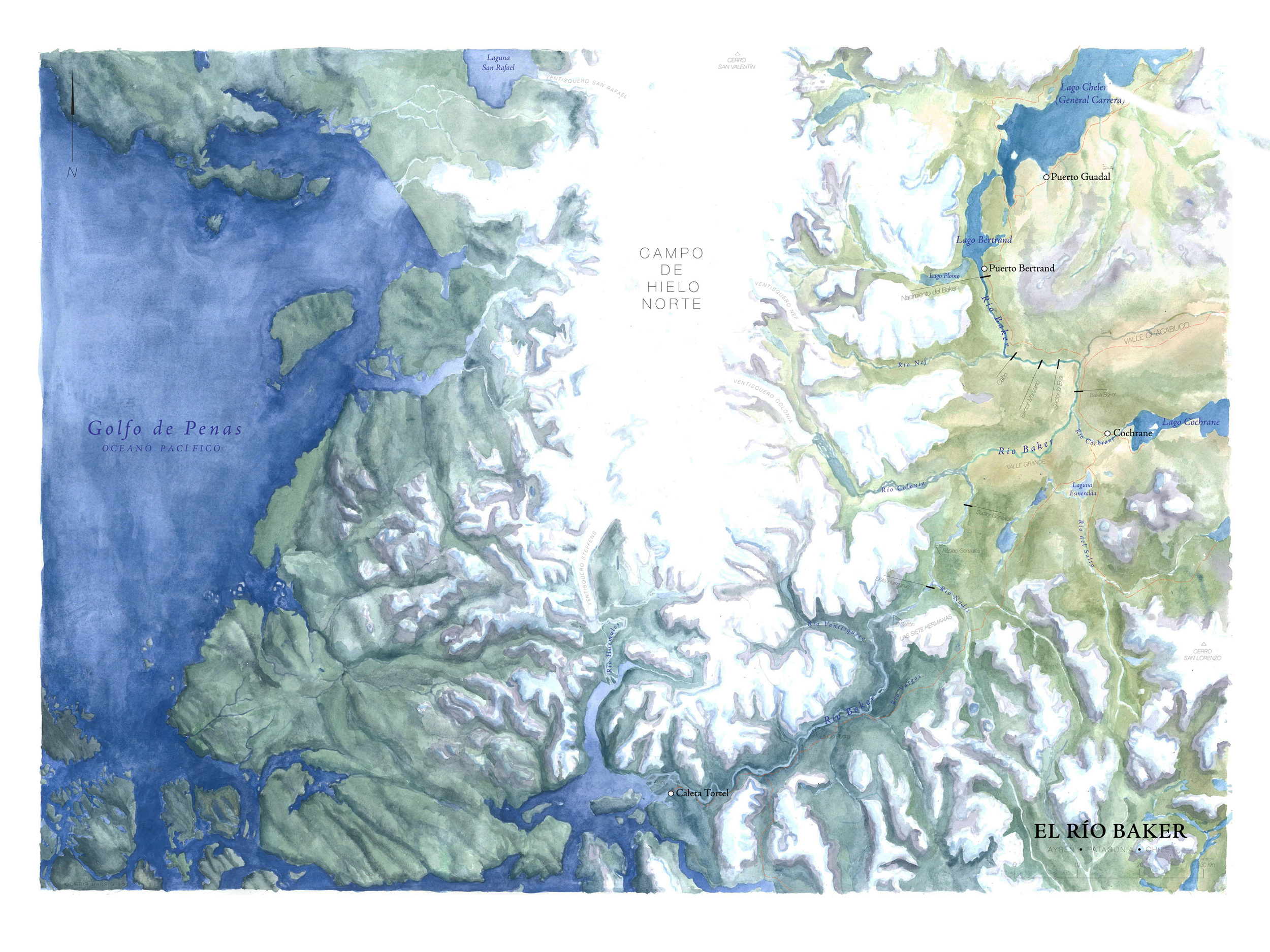Map of Río Baker, Patagonia, Chile