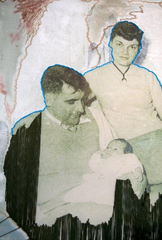 Danny Boy, 1952  (Detail)  2014  black, blue, sepia and white ink, embroidery floss, and photo transfer on yupo paper