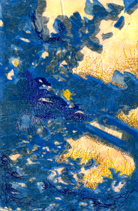 Indigo Sun   2015  Water media and embroidery thread on paper  7 in.  x 10.75 in.