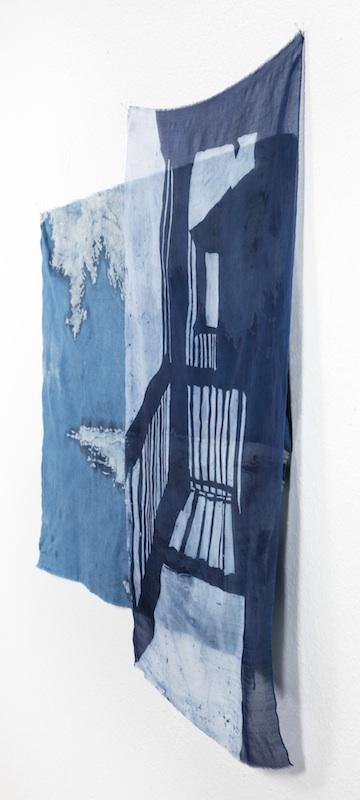 Just Outside the Door   indigo batiked cotton muslin and silk organza  2015    PURCHASE