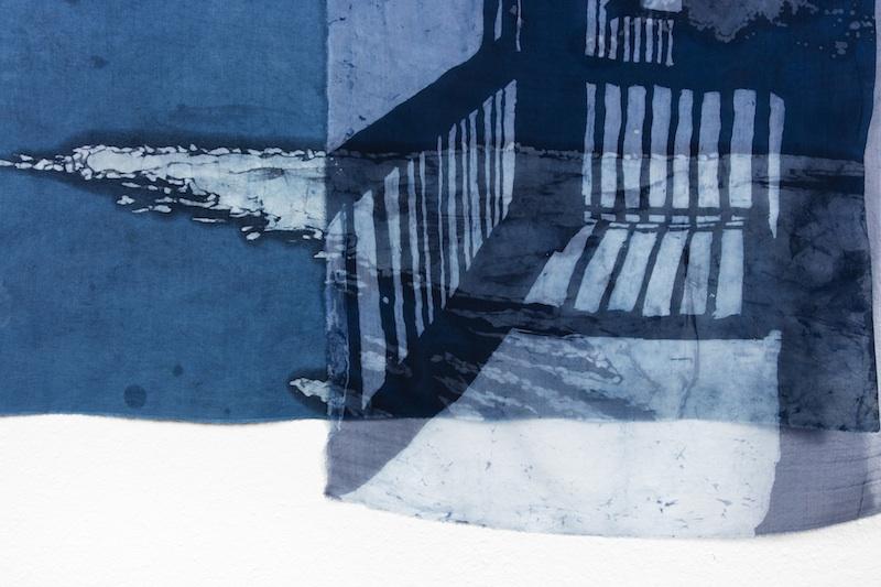 Just Outside the Door  (Detail)  indigo batiked cotton muslin and silk organza  2015