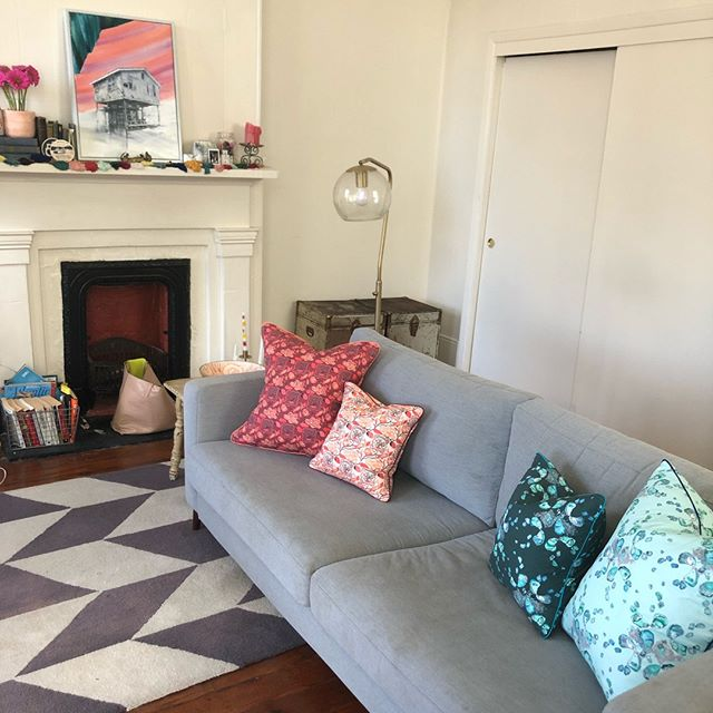 Throw Pillows in their natural habitat.  I love the pairing of these new Oyster and Magnolia Pillow sets, and can't wait to see which pillows from my new collection customers put together.  Keep your eyes out next week for my custom throw pillow collection launch on my new website!  #customthrowpillows #handmadethrowpillows