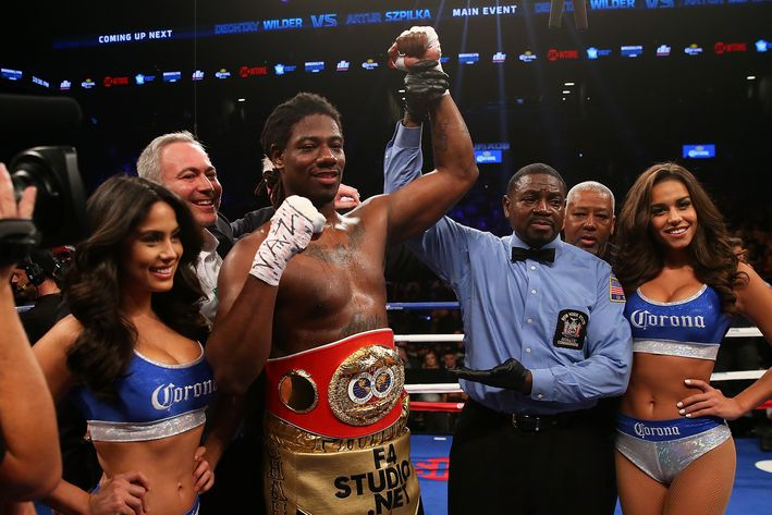 Charles Martin after his victory of Glazkov to win the IBF World heavyweight title. Photo credit: Mike Stobe/Getty Images