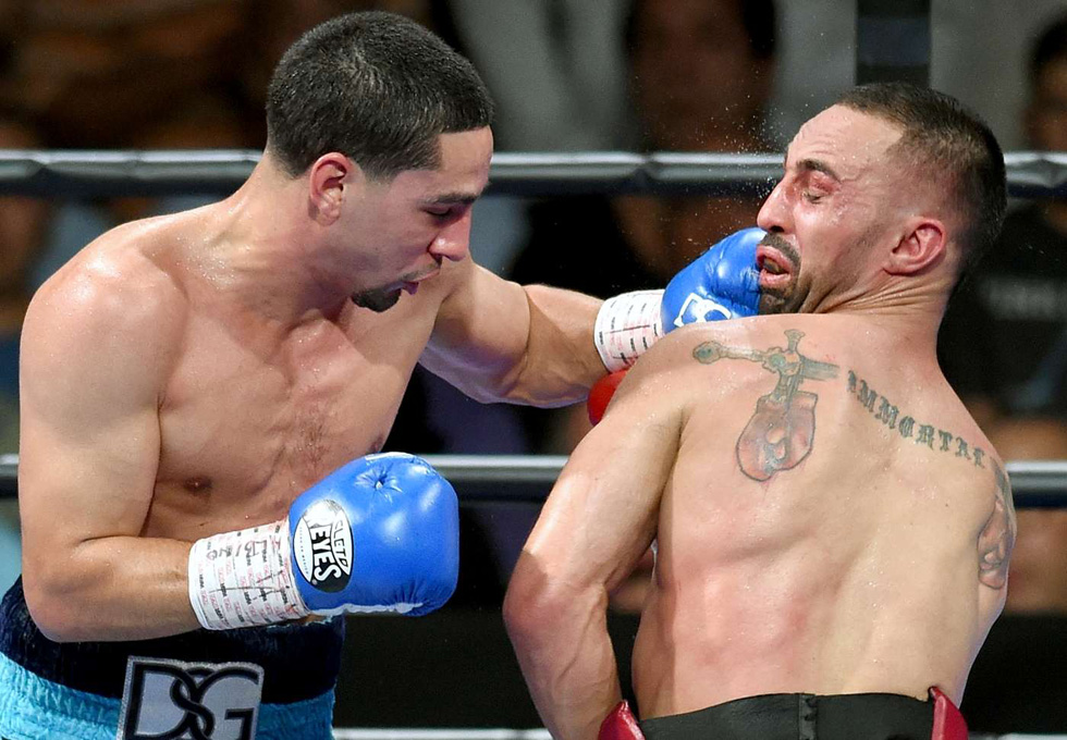 Danny Garcia entered the welterweight division against Paulie Malignaggi in a fight he dominated from the start.  Photo Credit Naoki Fukuda