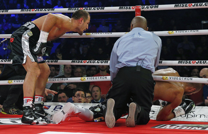 Kovalev dares Sillah to get up. Photo Credit:  AFP