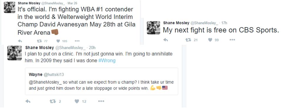 Shane Mosley tweets Boxing