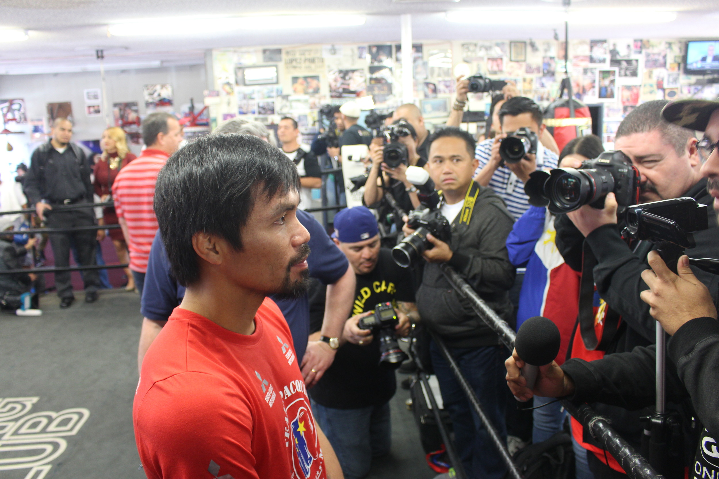 Pacquiao takes questions from the media before beginning his workout. Photo: Harvey Feliciano- Z-BoxingNews/FrontProofMedia.com