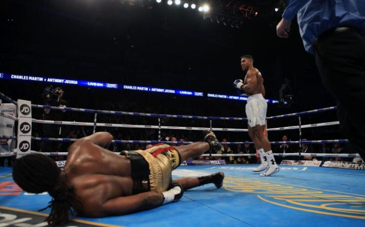 Anthony Joshua Stops Charles Martin in the second round with a big right hand. Photo Credit: NIck Potts/PA
