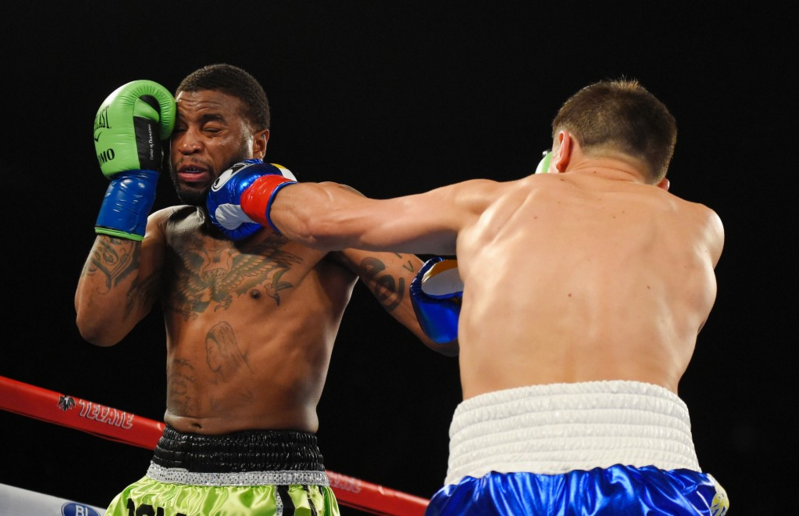 Gennady Golovkin catches Wade with a hard jab to punctuate how the night would go. Photo Credit:AP Photo/Mark J. Terrill