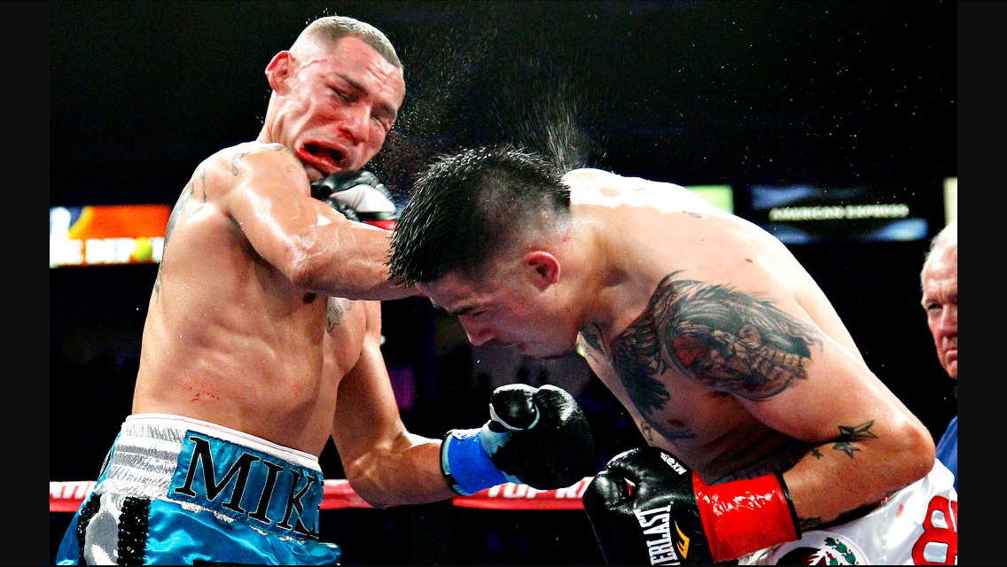 Brandon Rios with a big overhand right on Mike Alvarado. The fight took place in October 2012. Photo: ESPN