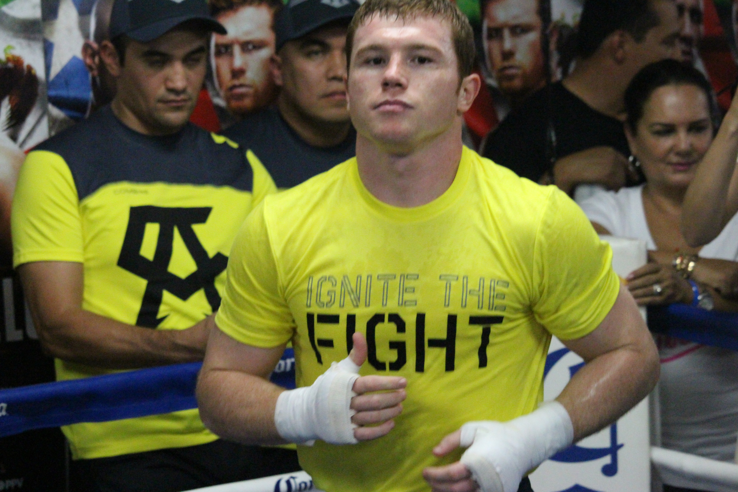Canelo Alvarez at his media workout in San Diego, CA last November before his fight against Miguel Cotto. Photo: Harvey Feliciano - Z-BoxingNews/FrontProof Media