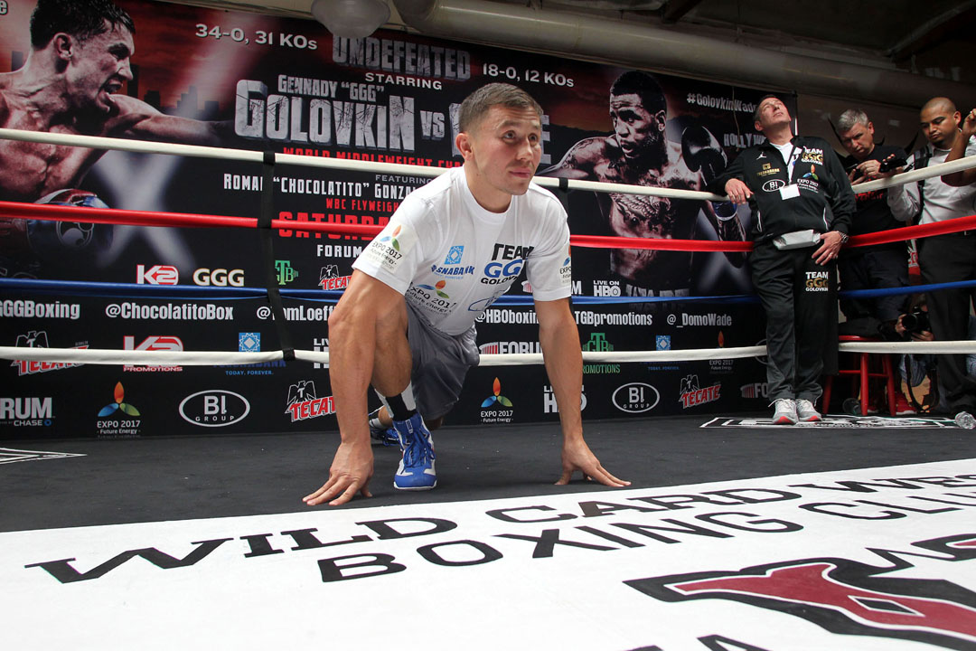 Gennady Golovkin at his media workout before his fight against Dominic Wade this past April. Photo: Chris Farina/K2 Promotions