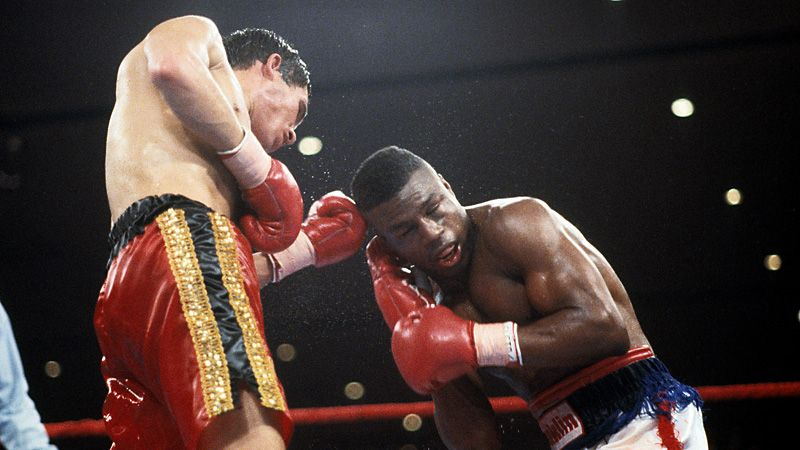 Julio Cesar Chavez vs. Meldrick Taylor. Chavez with a left uppercut on Taylor.  Photo: The Ring Magazine/Getty Images