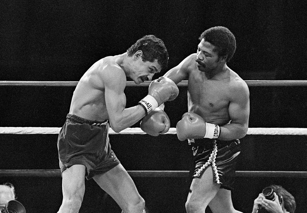 Alexis Arguello vs. Aaron Pryor. Pryor and Arguello in the middle of an exchange. Photo: Associated Press