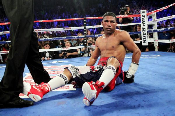 Yuriorkis Gamboa after a knockdown in his fight against Terence Crawford in 2014. Photo: Chris Farina/Top Rank