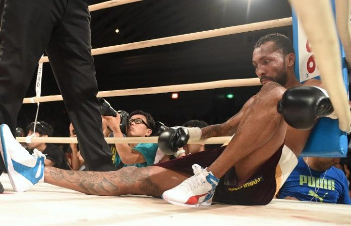 Anselmo Moreno slumps in the corner after the fight is stopped in the seventh round. Photo: Naoki Fukuda/RingTV