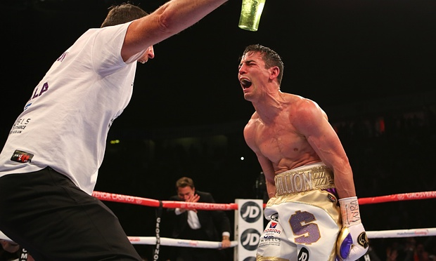Jorge Linares' opponent on Saturday night, Anthony Crolla celebrates his win over Darleys Perez. Photo: Dave Thompson/Getty Images