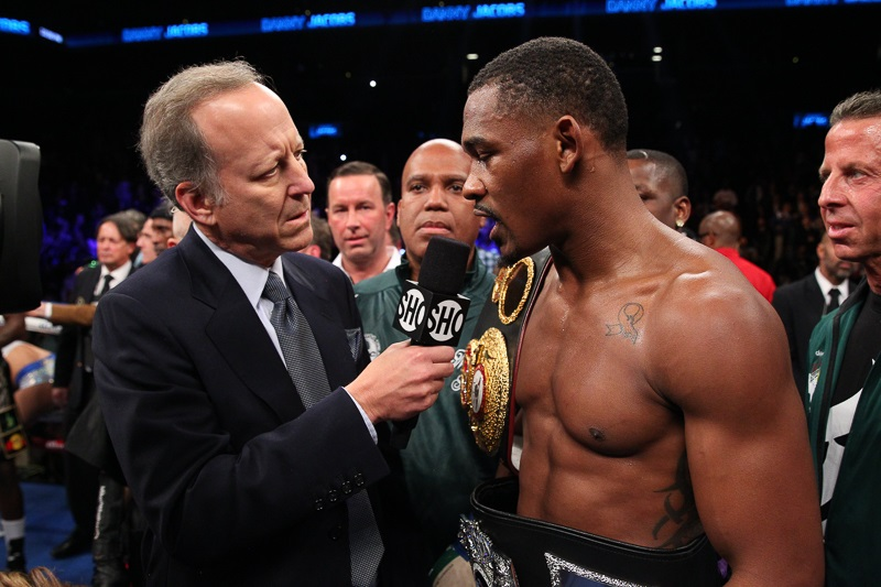 Danny Jacobs in his post-fight interview after his win over Peter Quillin. Photo: Edward Diller/Dibella Entertainment