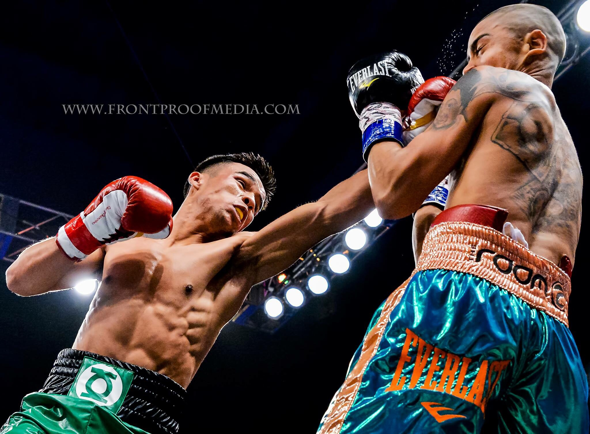 Rafael Rivera lands a left jab on Wilfredo Vazquez Jr. Photo: Joseph Correa/Frontproofmedia.com