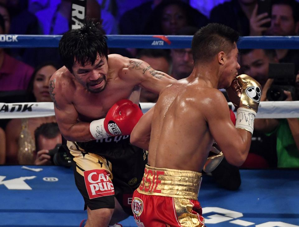 Manny Pacquiao lands a straight left hand on Jessie Vargas. Photo: Ethan Miller/Getty Images