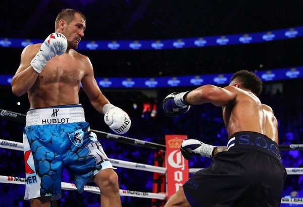 Sergey Kovalev lands a right hand in the second round that knocks down Andre Ward. Photo: David Spagnolo/Main Events