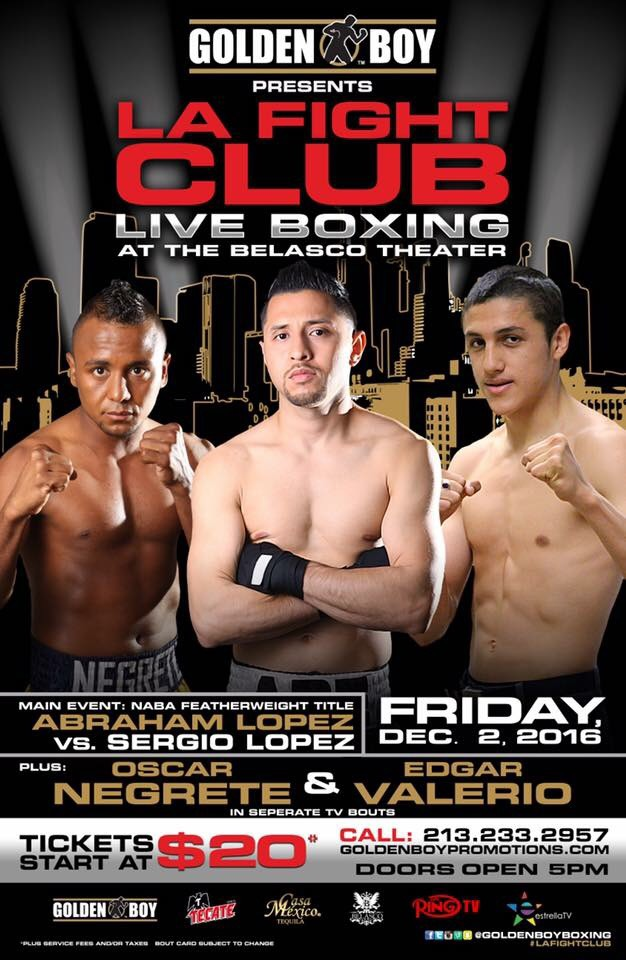Golden Boy Promotions returns to Los Angeles this Friday December 2, 2016 with their monthly LA Fight Club event. Photo: Golden Boy Promotions