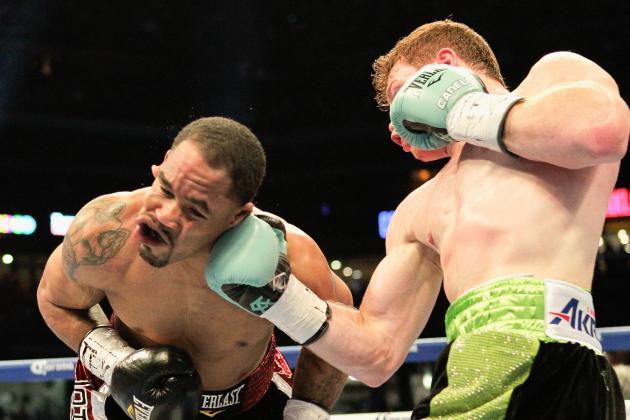 Canelo Alvarez lands a right uppercut on James Kirkland in their May 2015 fight. Photo: Bob Levey/Associated Press