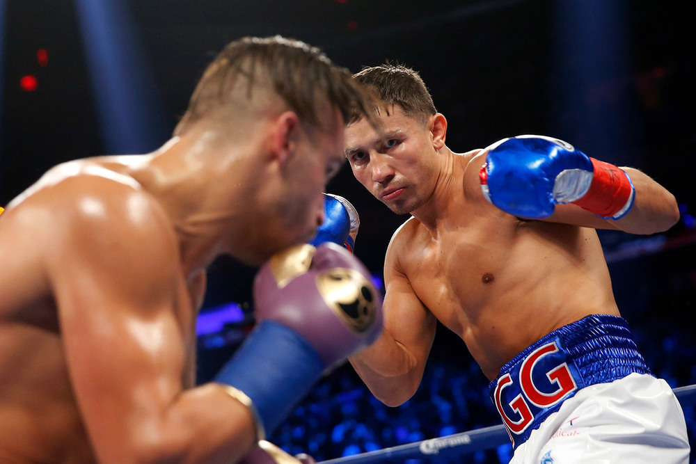 Golovkin hunts down David Lemieux in their middleweight unification bout in October 2015. Photo: Will Hart/HBO