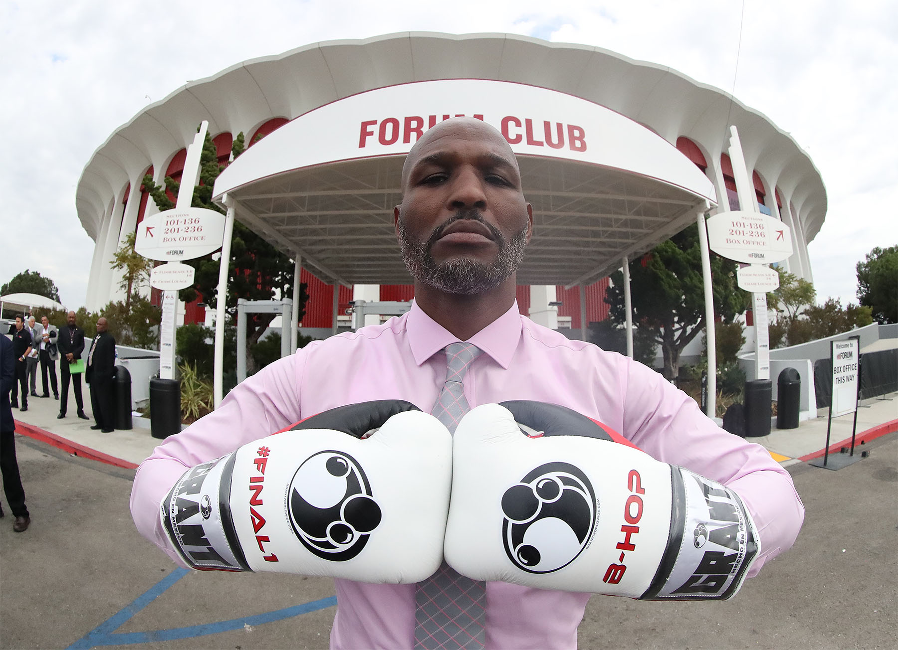 Bernard Hopkins poses in front of The Forum in Inglewood, California. Photo: Tom Hogan/Golden Boy Promotions