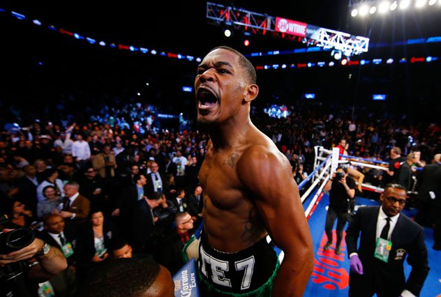 Danny Jacobs celebrates after his KO win over Peter Quillin. Photo: Al Bello/Getty Images.