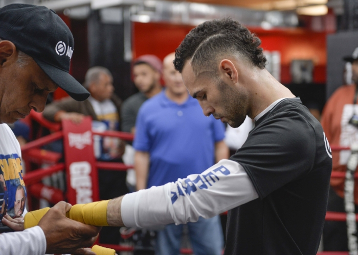 Jose Pedraza getting prepared for his workout ahead of his big fight against up and coming Gervonta Davis. Photo credit:  Idris Erba/Mayweather Promotions