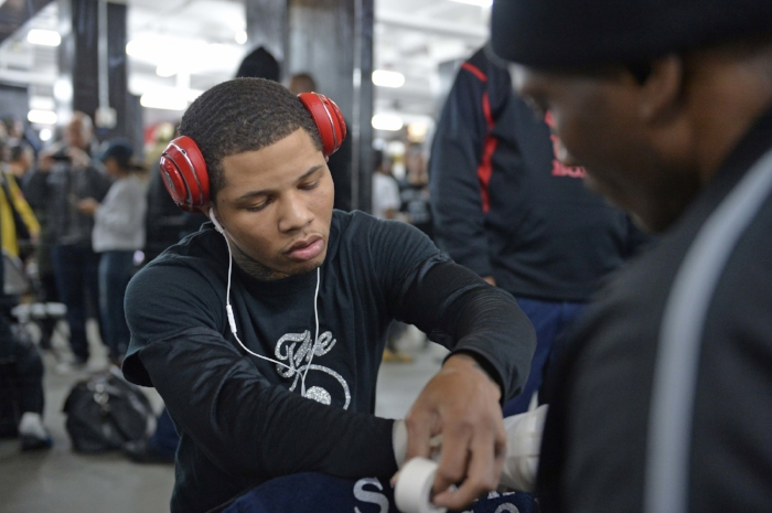 Gervonta Davis getting his hands wrapped before his workout. He is set to take on Jose Pedraza in whatwill be his first bid at a world title. Photo credit:  Idris Erba/Mayweather Promotions