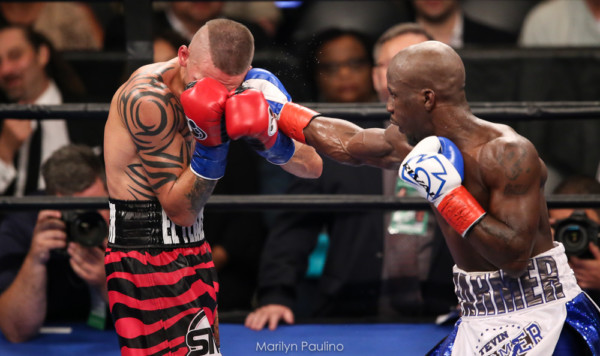 Tevin Farmer lands a right hand on Ivan Redkach. This was one of Farmer's most impressive performances. Photo: Marilyn Paulino/RBRboxing