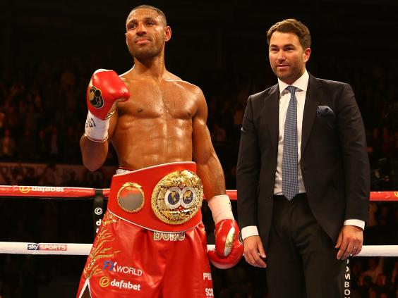 IBF welterweight world champion, Kell Brook, and his promoter Eddie Hearn of Matchroom Boxing. Photo: Getty Images