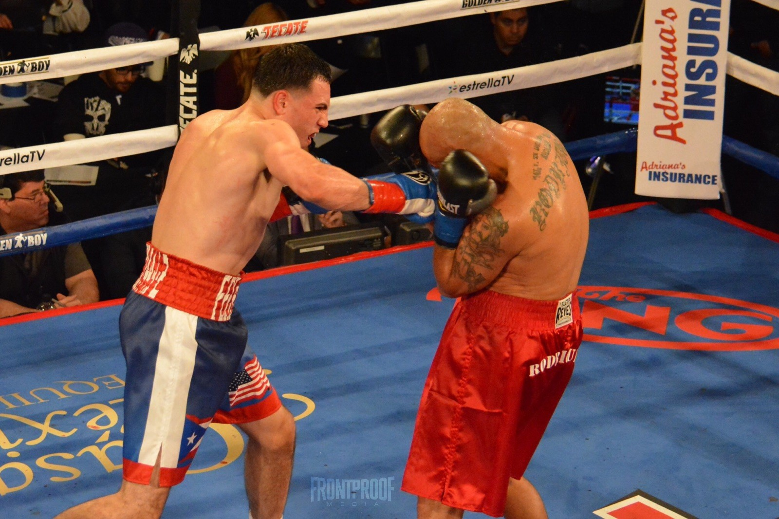 Luis Feliciano, a Marquette University graduate, connects with an overhand right. Photo: Cynthia Saldaña/Frontproof Media