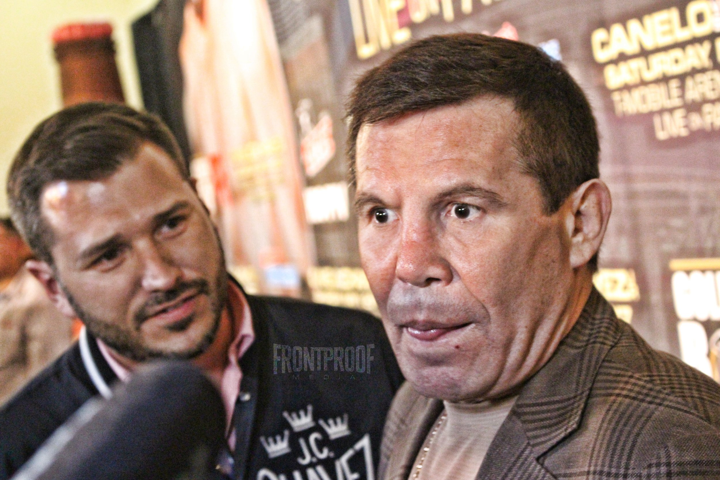 Julio Cesar Chavez speaks to the press in Los Angeles. Photo: Danny Z/Frontproof Media