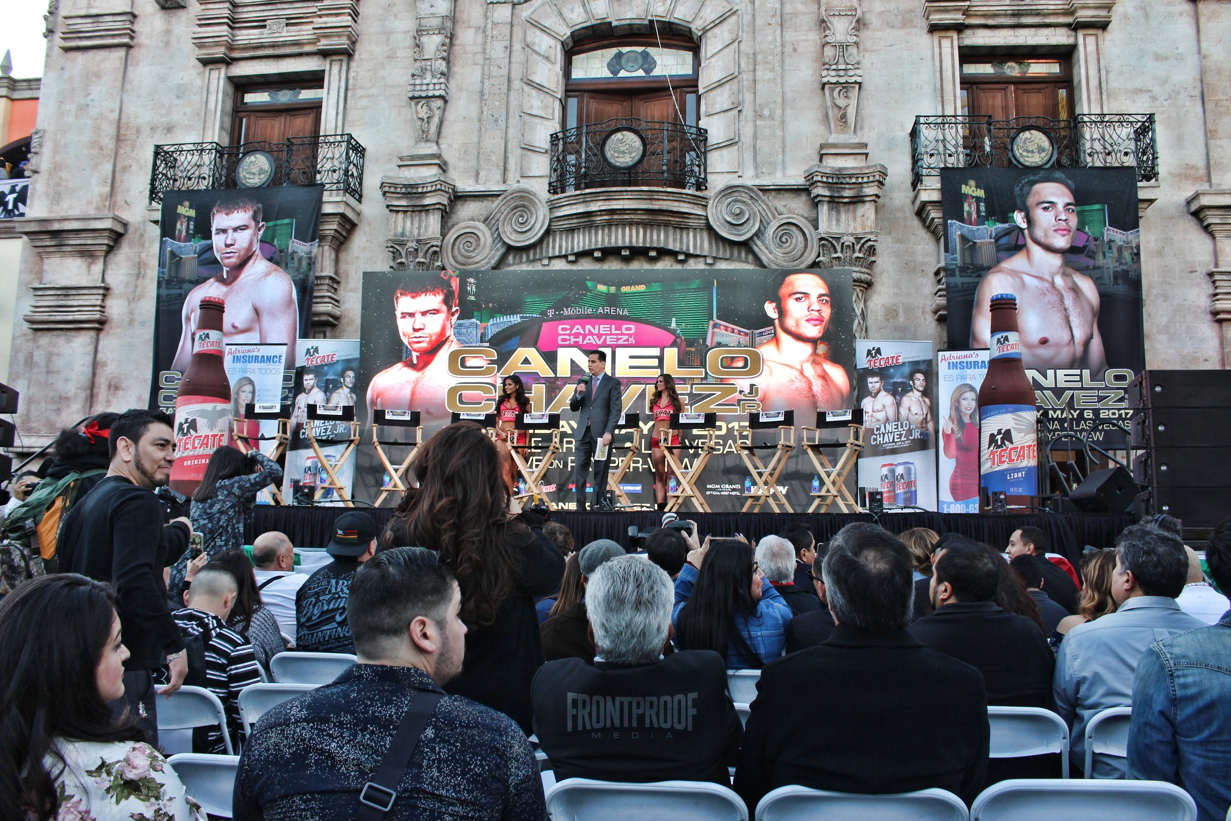 Stage from the Canelo-Chavez Jr. Los Angeles press conference. Photo: Danny Z/Frontproof Media