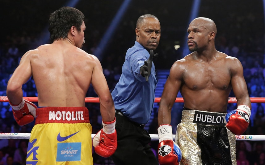 Floyd Mayweather and Manny Pacquiao met in May 2015 to unify their titles at welterweight in the highest grossing fight in boxing history. Photo: Steve Marcus/Reuters