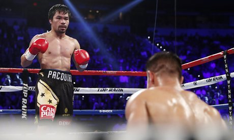 Manny Pacquiao after a knock down on Jessie Vargas in the second round of their November 2016 fight. Photo: Isaac Brekken/AP