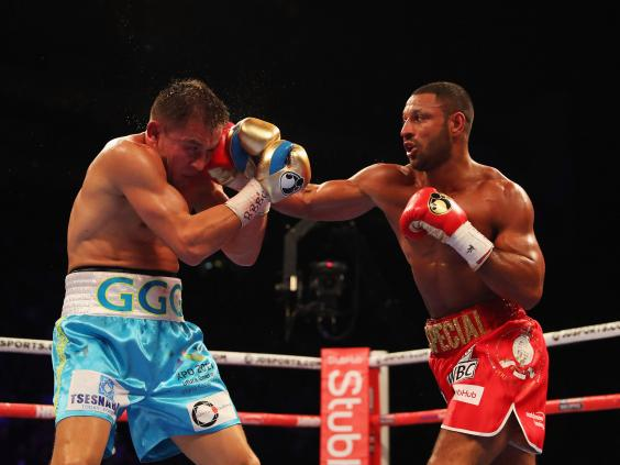 Kell Brook lands a right hand on Gennady Golovkin in his last fight in September 2016. Photo: Richard Pelham/Getty Images