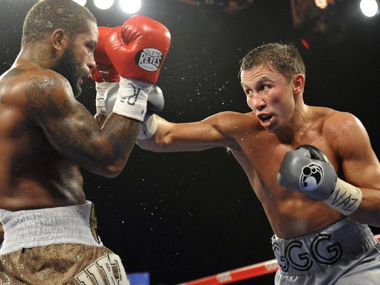 Gennady Golovkin lands a right hand on Curtis Stevens. Photo: Joe Camporeale/USA TODAY Sports