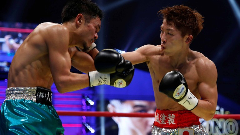 Naoya Inoue lands a right hand on Kohei Kono. A fight between Inoue and Gonzalez would be huge in Japan. Photo: Action Images/Reuters/Toro Hanai