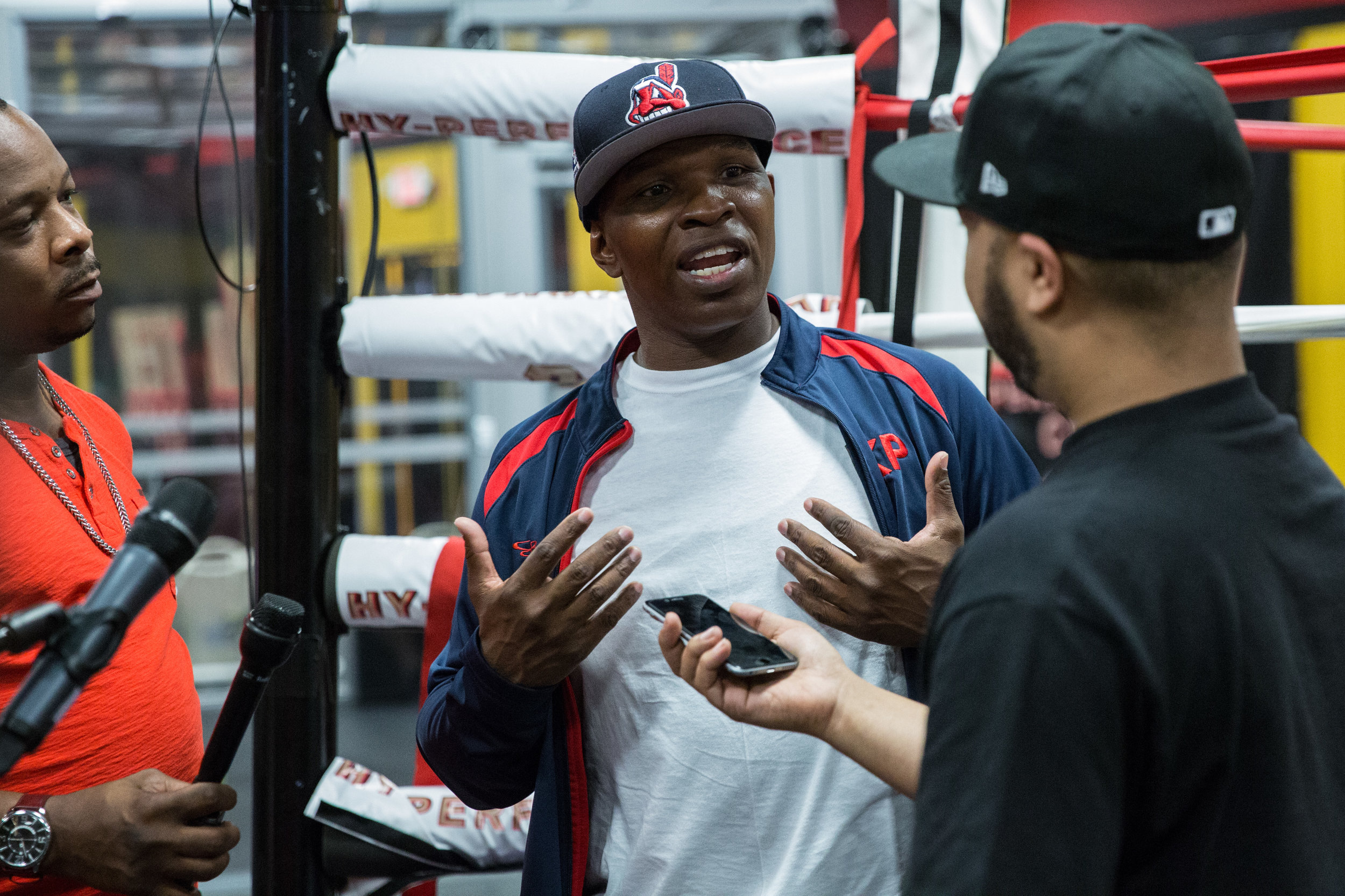 Kenny Porter talks to media during the workout. Photo Credit Ryan Greene / Premier Boxing Champions