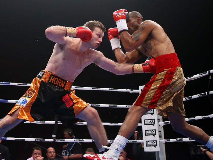 Jeff Horn lands a left jab on Randall Bailey. Photo: Getty Images