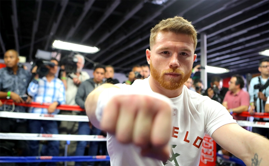 Canelo Alvarez poses for a shot while preparing for his workout in front of media . Photo Credit   Tom Hogan - Hogan Photos/Golden Boy Promotion