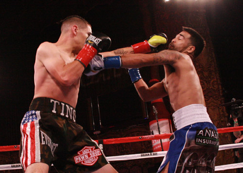 "Manuel ""Tino"" Avila lands a left   jan   on Jose Ramirez in his last fight. Avila won via unanimous decision. Photo: William Trillo"