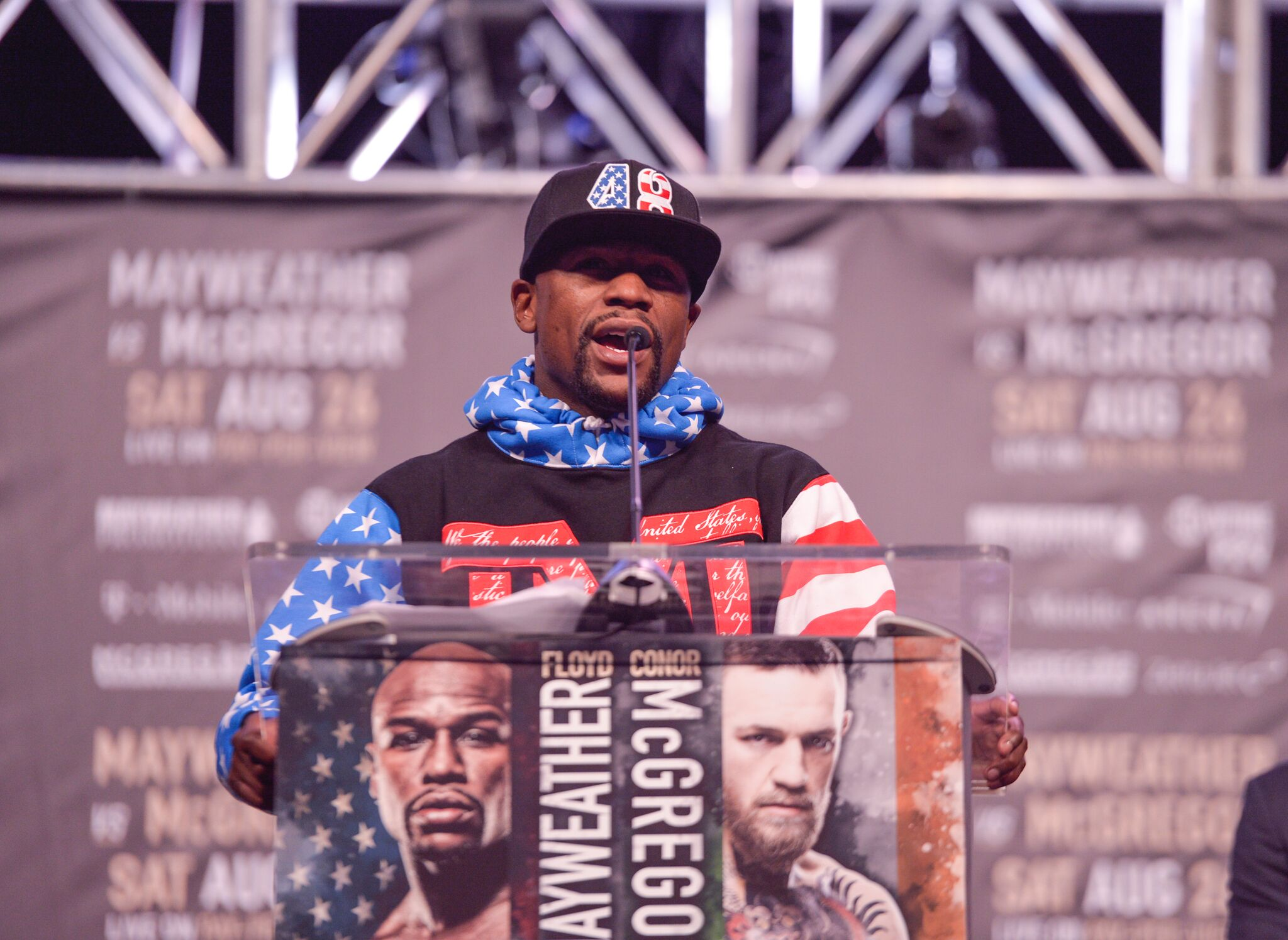 Floyd Mayweather Jr. talks about the upcoming fight with Conor McGregor.  Photo credit Idris Erba/Mayweather Promotions