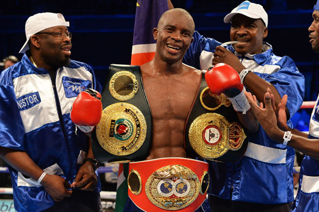 Julius Indongo after his victory over Ricky Burns to become the unified WBA and IBF 140-pound champion. Photo: Getty Images
